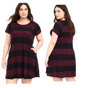 3X New Torrid Burgundy/Black Stripe Trapeze Dress